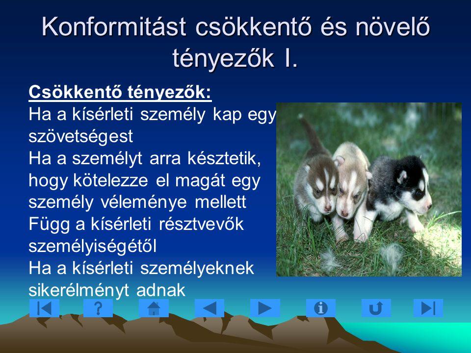 Konformitást csökkentő és növelő tényezők I.