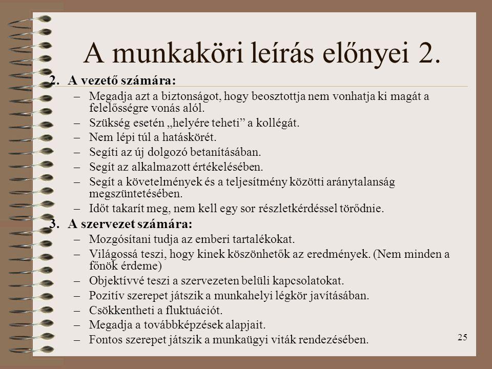 A munkaköri leírás előnyei 2.