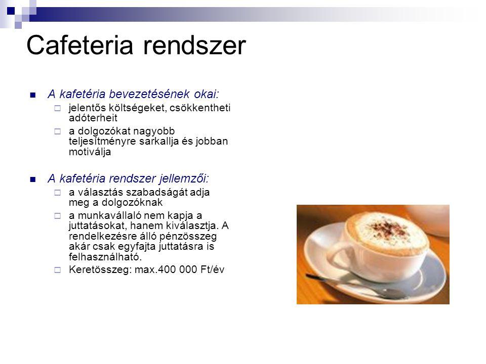 Cafeteria rendszer A kafetéria bevezetésének okai: