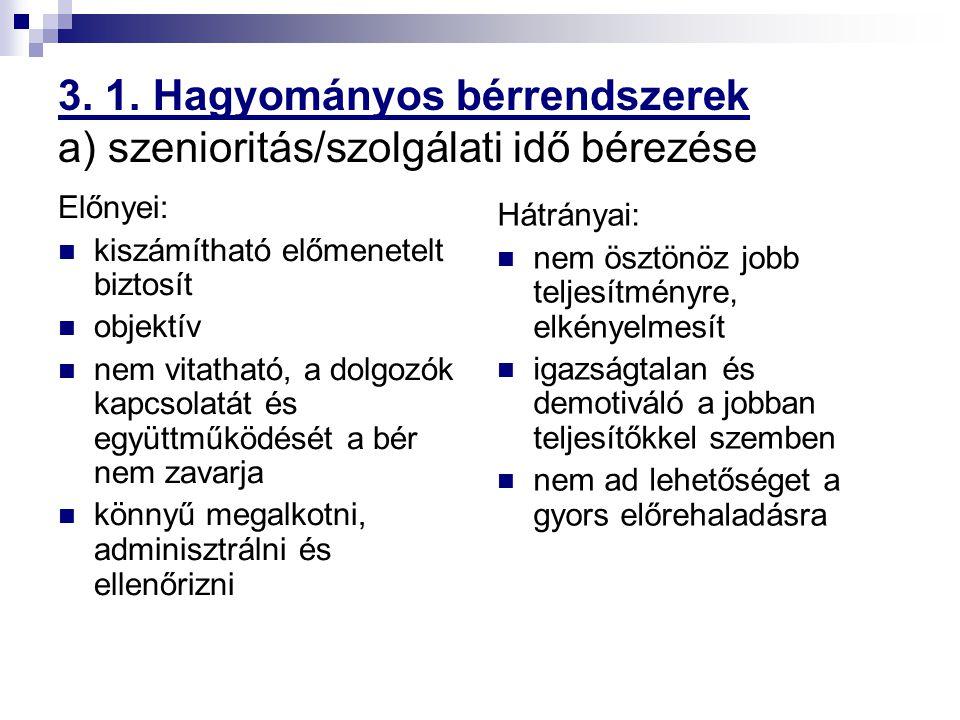 3. 1. Hagyományos bérrendszerek a) szenioritás/szolgálati idő bérezése