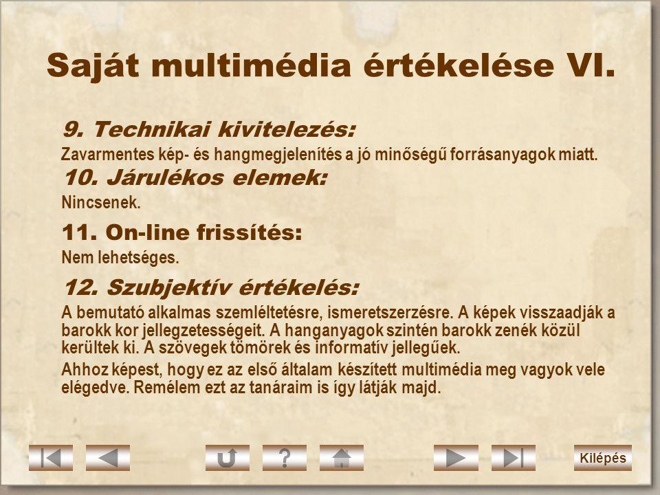 Saját multimédia értékelése VI.
