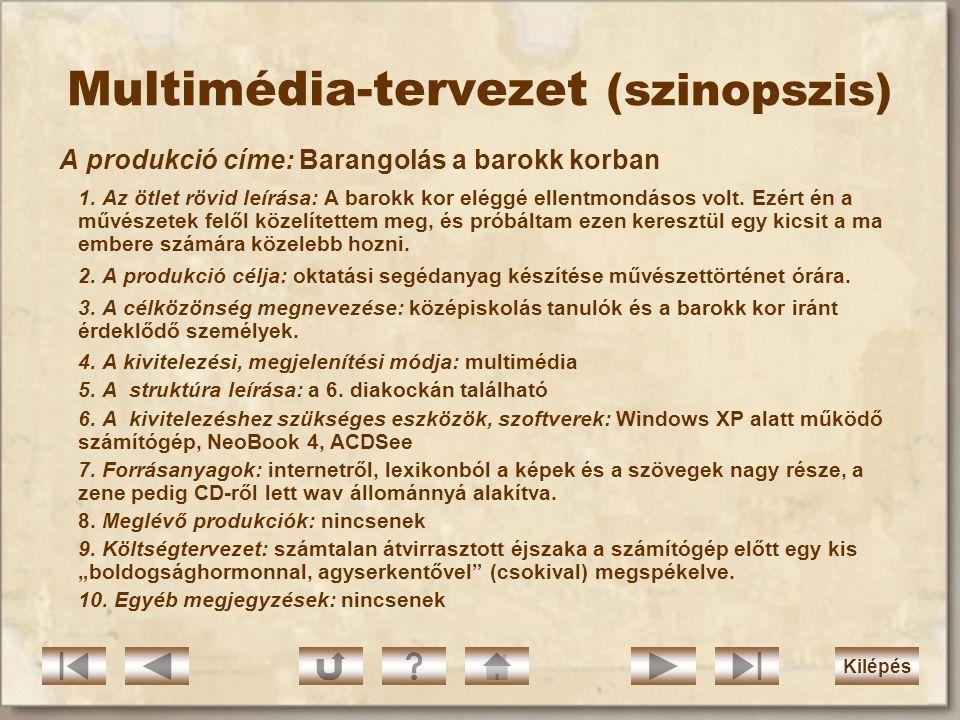 Multimédia-tervezet (szinopszis)