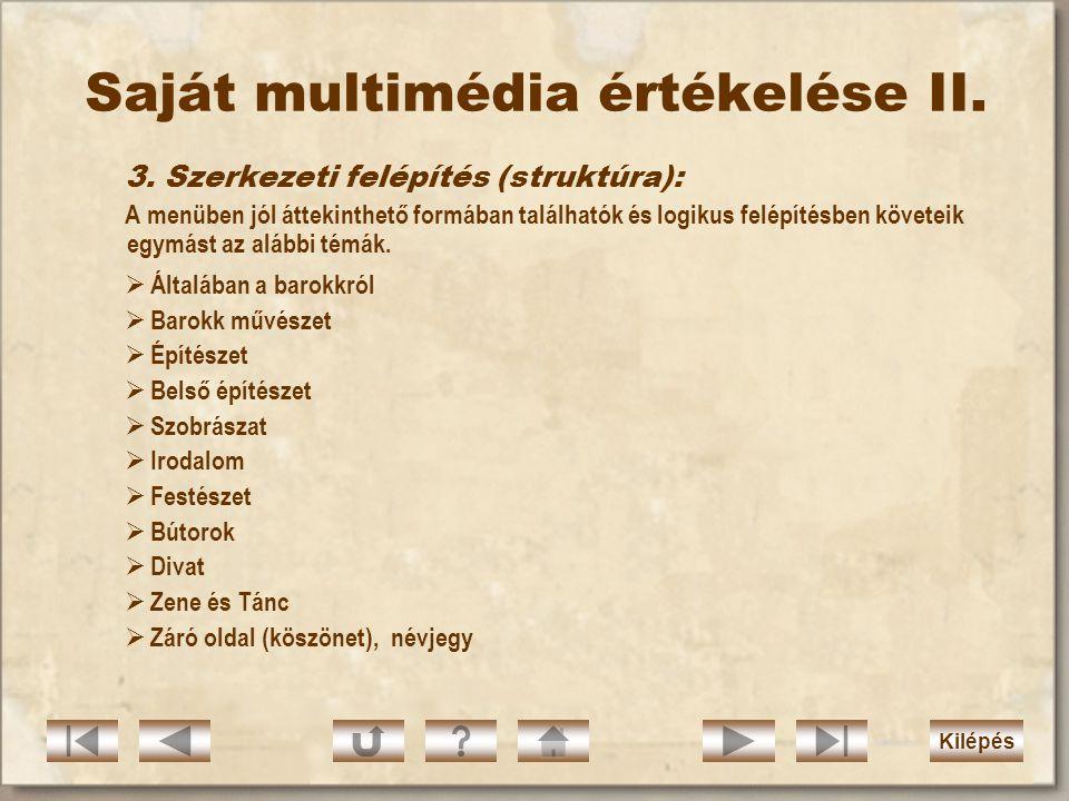 Saját multimédia értékelése II.