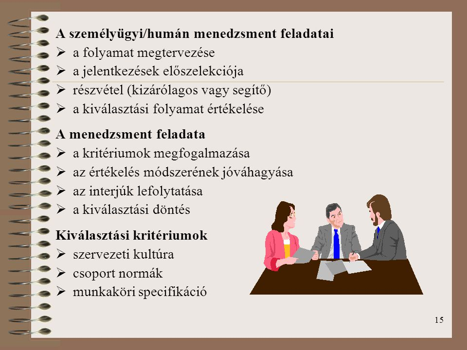 A személyügyi/humán menedzsment feladatai