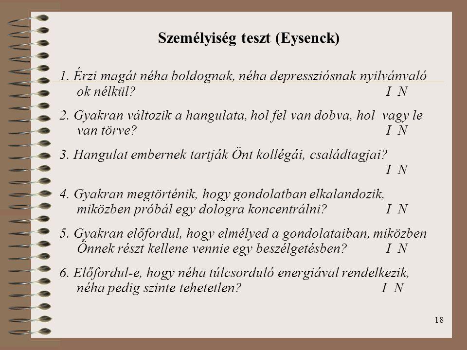 Személyiség teszt (Eysenck)