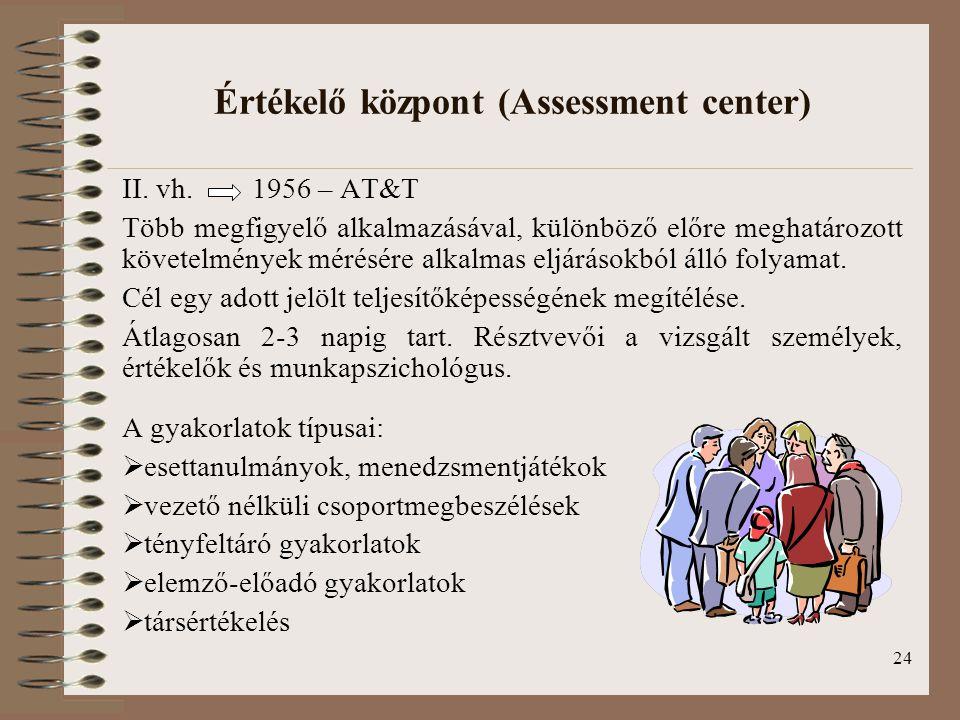 Értékelő központ (Assessment center)