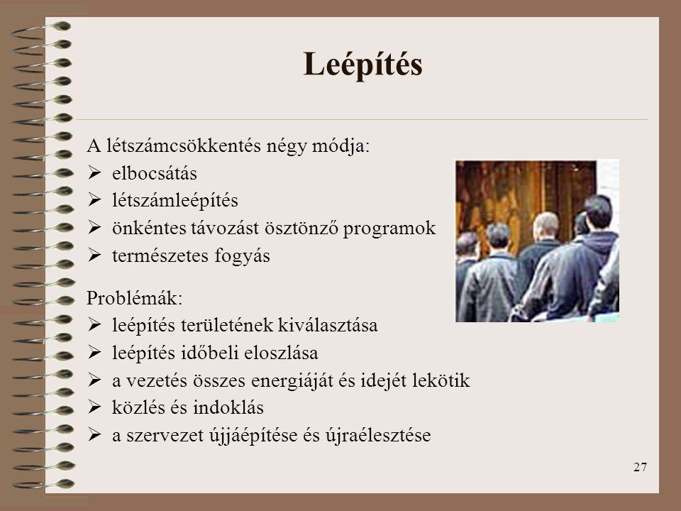Leépítés A létszámcsökkentés négy módja: elbocsátás létszámleépítés
