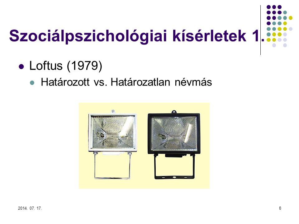 Szociálpszichológiai kísérletek 1.