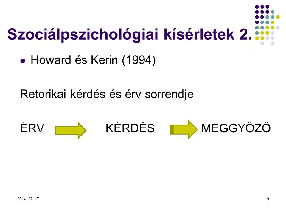 Szociálpszichológiai kísérletek 2.