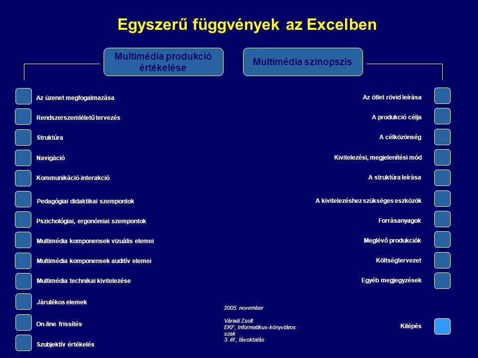 Egyszerű függvények az Excelben