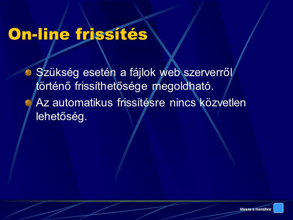 On-line frissítés Szükség esetén a fájlok web szerverről történő frissíthetősége megoldható.