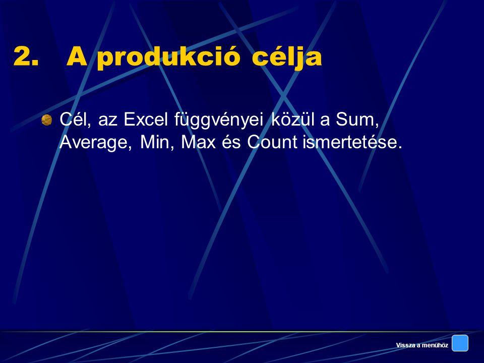 A produkció célja Cél, az Excel függvényei közül a Sum, Average, Min, Max és Count ismertetése.