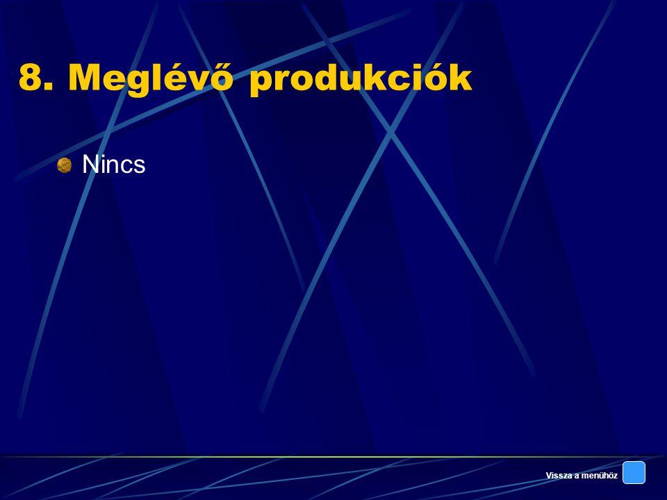 8. Meglévő produkciók Nincs