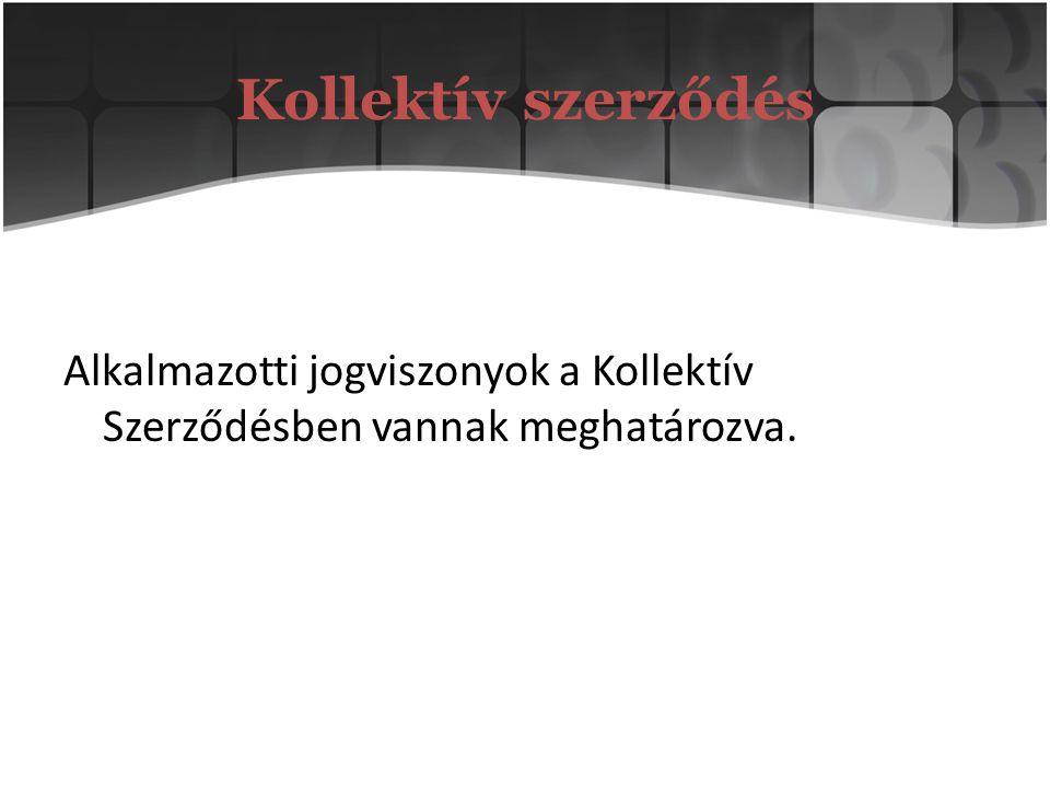 Kollektív szerződés Alkalmazotti jogviszonyok a Kollektív Szerződésben vannak meghatározva.