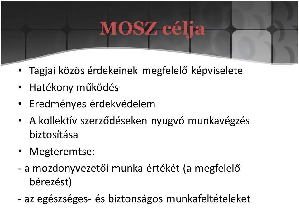 MOSZ célja Tagjai közös érdekeinek megfelelő képviselete