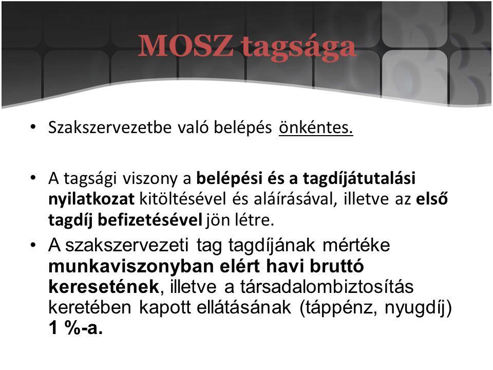 MOSZ tagsága Szakszervezetbe való belépés önkéntes.