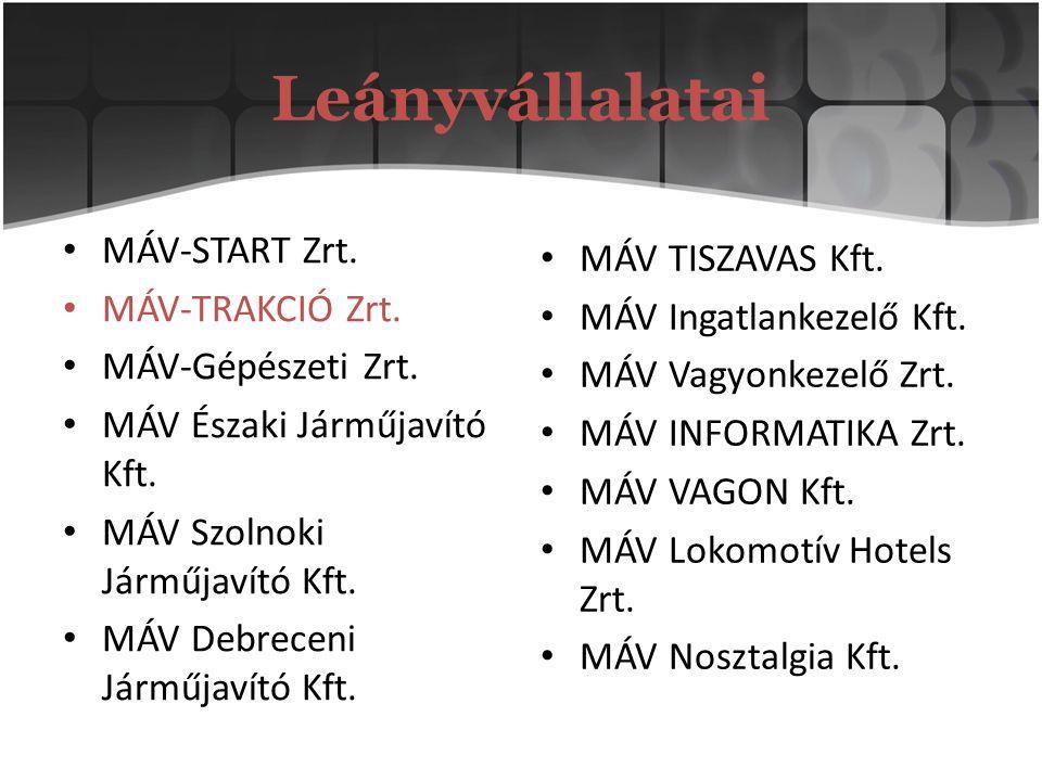 Leányvállalatai MÁV-START Zrt. MÁV TISZAVAS Kft. MÁV-TRAKCIÓ Zrt.