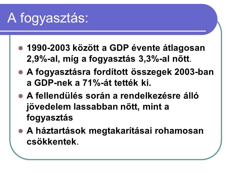 A fogyasztás: 1990-2003 között a GDP évente átlagosan 2,9%-al, míg a fogyasztás 3,3%-al nőtt.