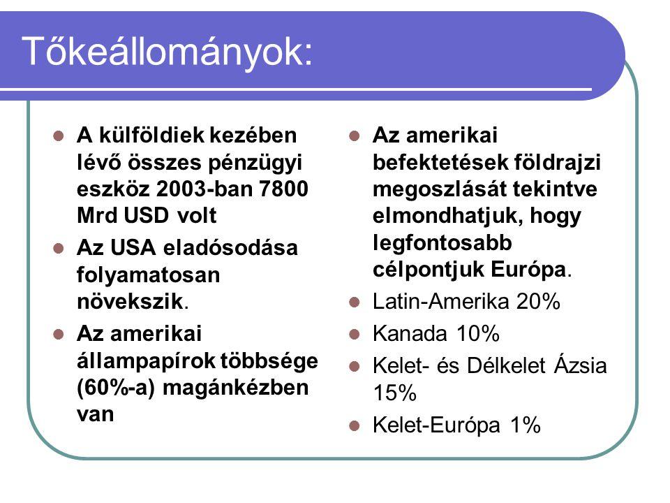 Tőkeállományok: A külföldiek kezében lévő összes pénzügyi eszköz 2003-ban 7800 Mrd USD volt. Az USA eladósodása folyamatosan növekszik.