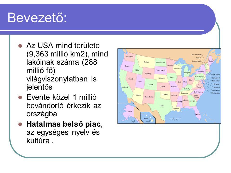 Bevezető: Az USA mind területe (9,363 millió km2), mind lakóinak száma (288 millió fő) világviszonylatban is jelentős.