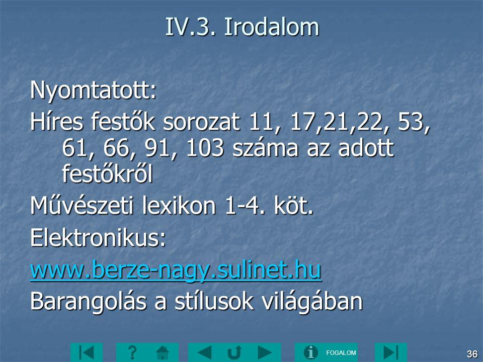 IV.3. Irodalom Nyomtatott: Híres festők sorozat 11, 17,21,22, 53, 61, 66, 91, 103 száma az adott festőkről.