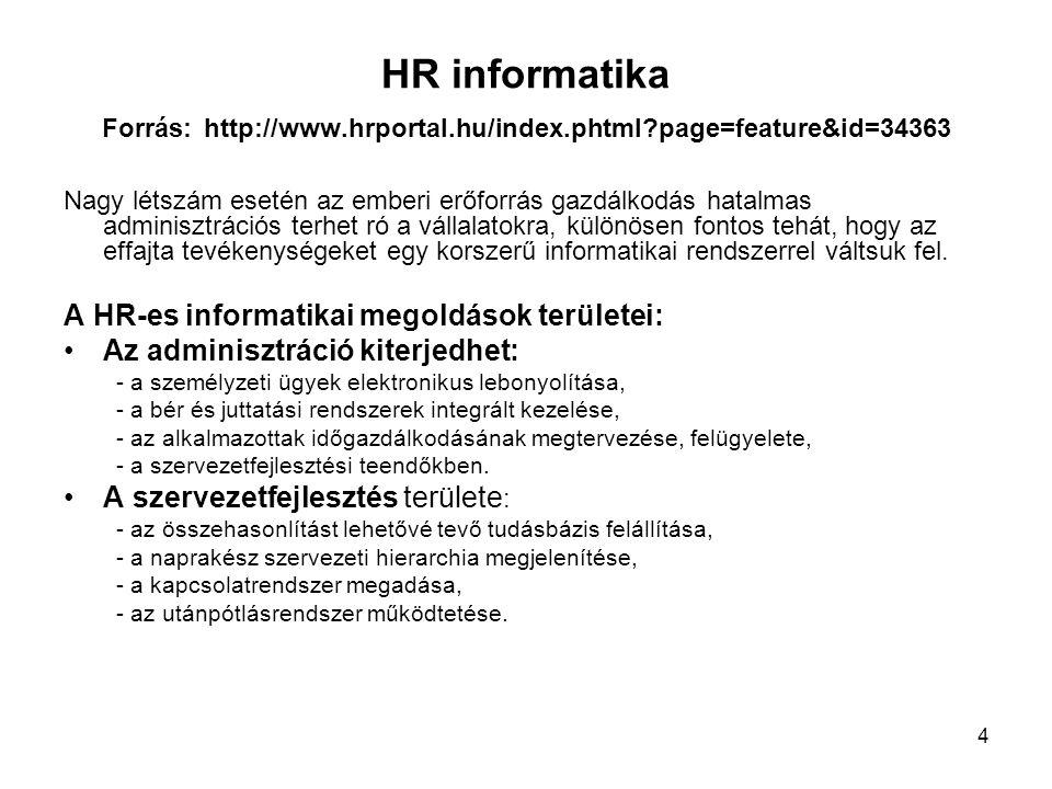 HR informatika Forrás: http://www. hrportal. hu/index. phtml