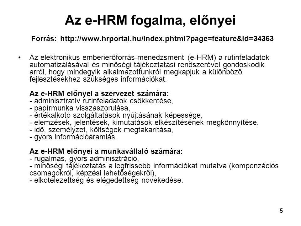 Az e-HRM fogalma, előnyei Forrás: http://www.hrportal.hu/index.phtml page=feature&id=34363