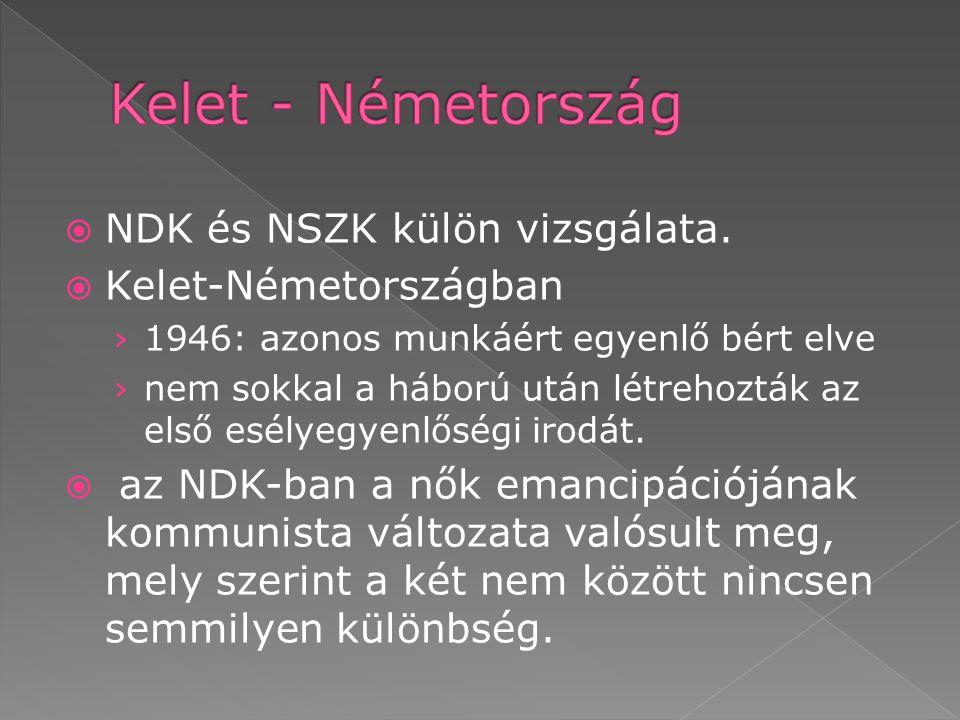 Kelet - Németország NDK és NSZK külön vizsgálata. Kelet-Németországban