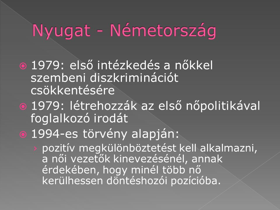 Nyugat - Németország 1979: első intézkedés a nőkkel szembeni diszkriminációt csökkentésére.