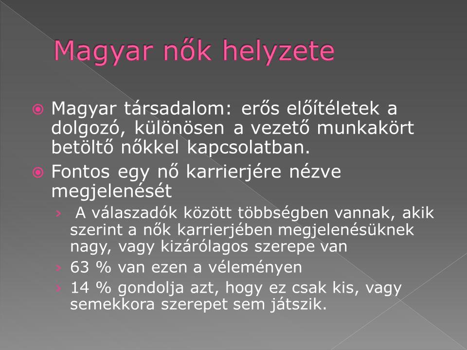 Magyar nők helyzete Magyar társadalom: erős előítéletek a dolgozó, különösen a vezető munkakört betöltő nőkkel kapcsolatban.