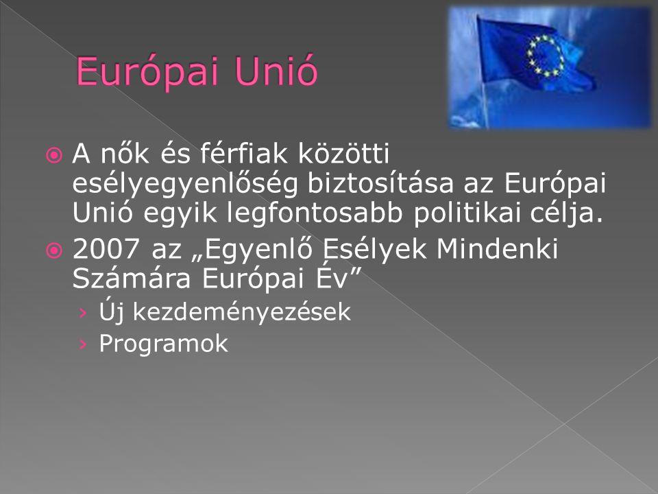 Európai Unió A nők és férfiak közötti esélyegyenlőség biztosítása az Európai Unió egyik legfontosabb politikai célja.