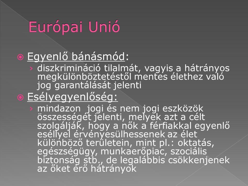 Európai Unió Egyenlő bánásmód: Esélyegyenlőség: