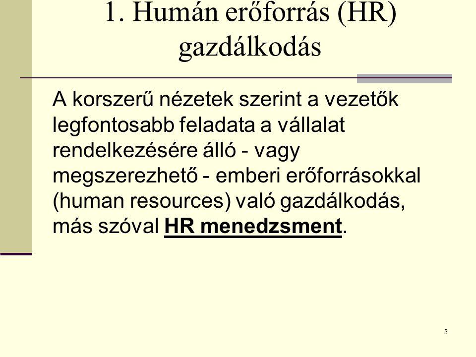 1. Humán erőforrás (HR) gazdálkodás