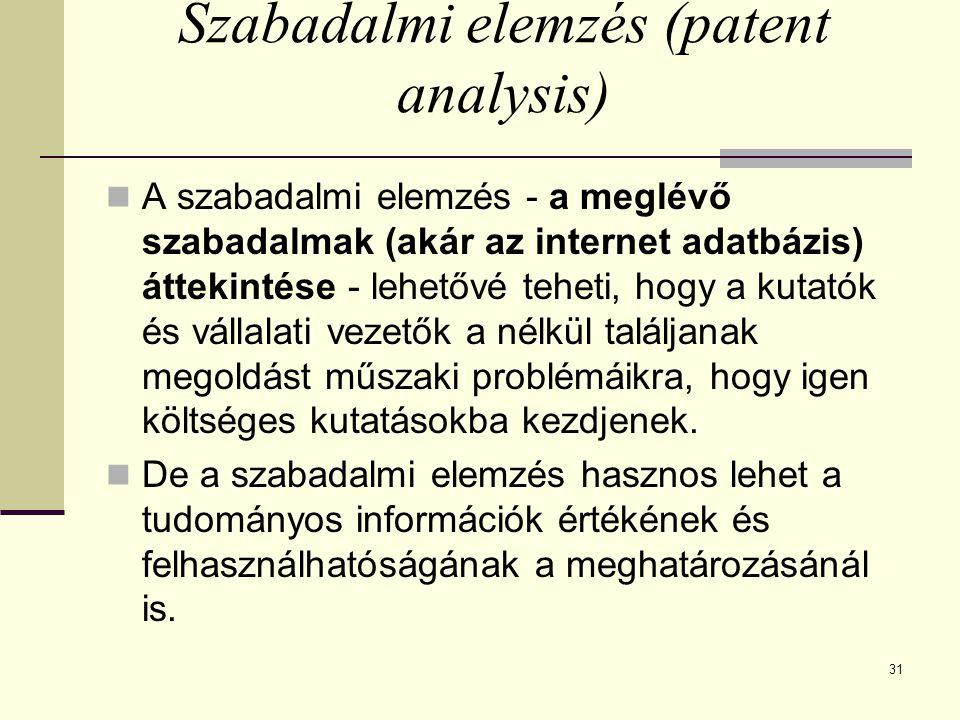 Szabadalmi elemzés (patent analysis)