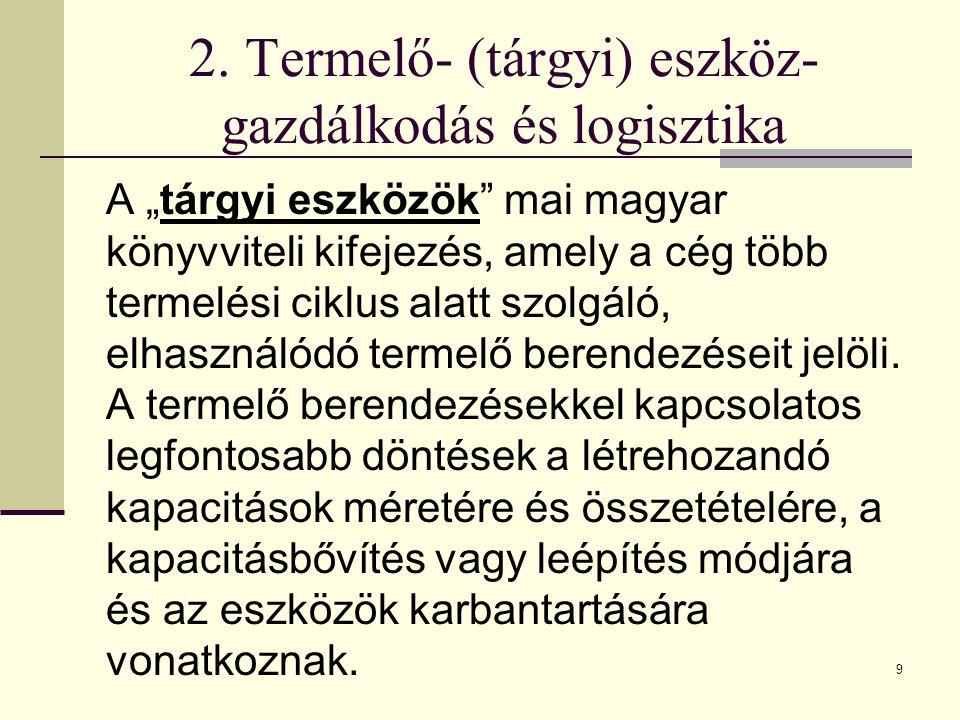 2. Termelő- (tárgyi) eszköz-gazdálkodás és logisztika