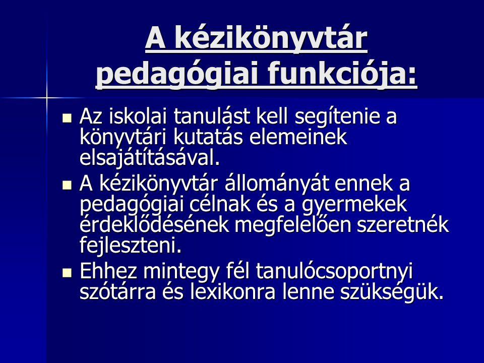 A kézikönyvtár pedagógiai funkciója: