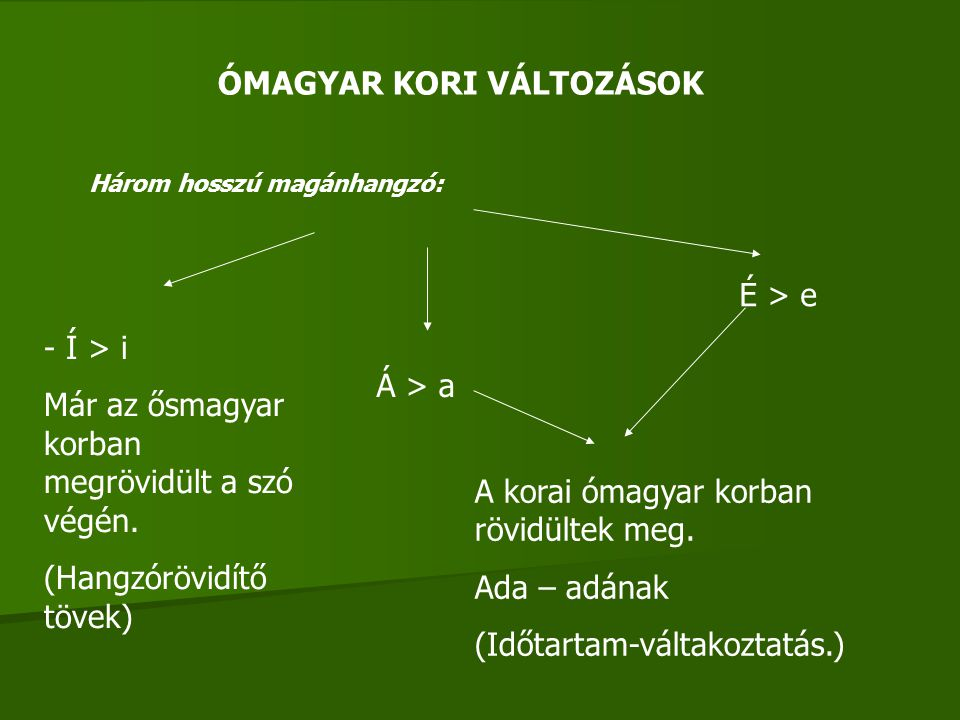 ÓMAGYAR KORI VÁLTOZÁSOK