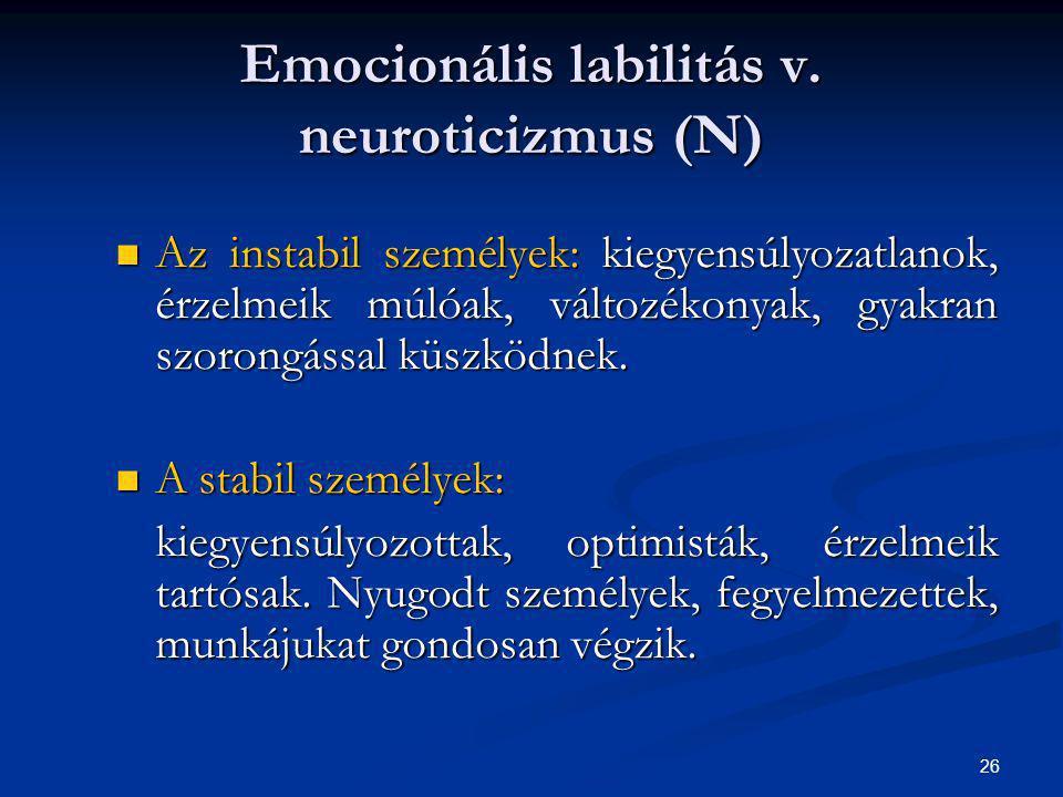 Emocionális labilitás v. neuroticizmus (N)