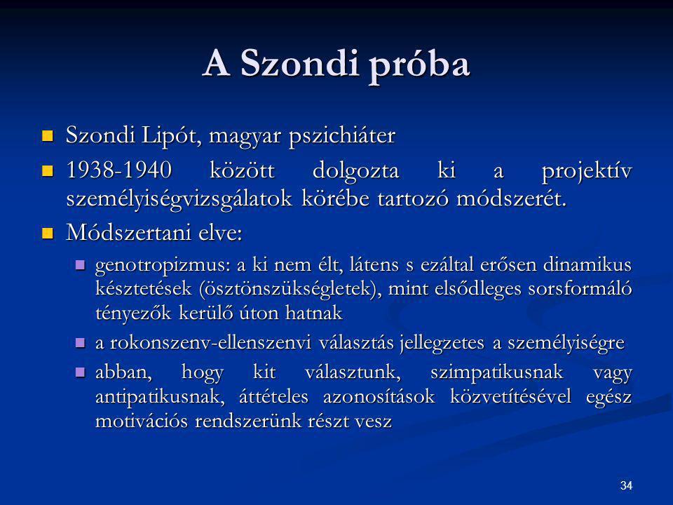 A Szondi próba Szondi Lipót, magyar pszichiáter