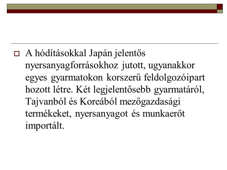 A hódításokkal Japán jelentős nyersanyagforrásokhoz jutott, ugyanakkor egyes gyarmatokon korszerű feldolgozóipart hozott létre.