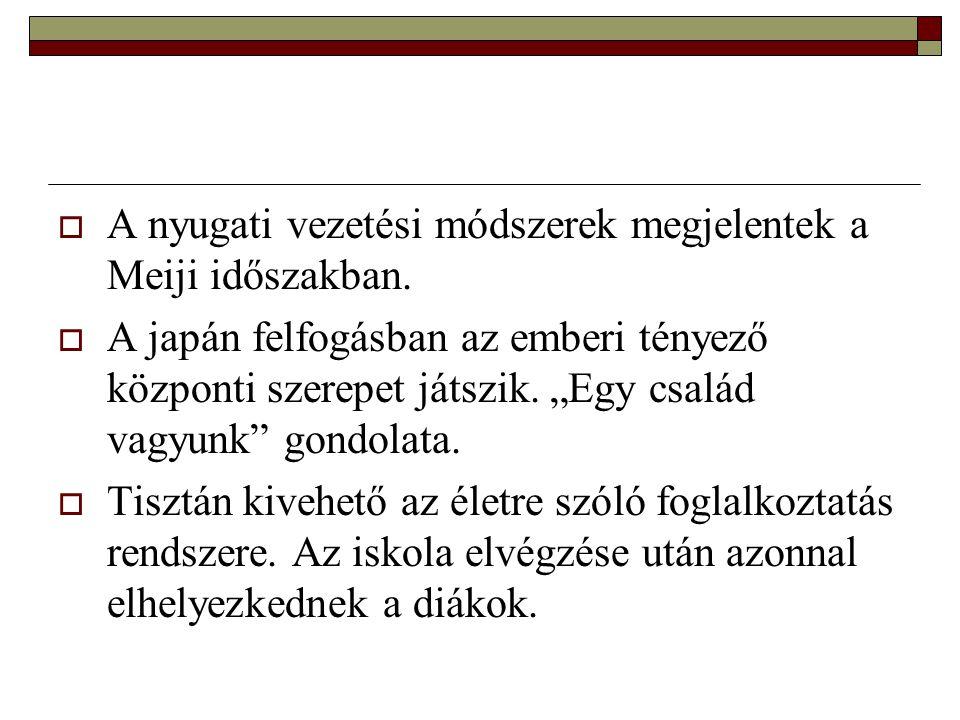 A nyugati vezetési módszerek megjelentek a Meiji időszakban.