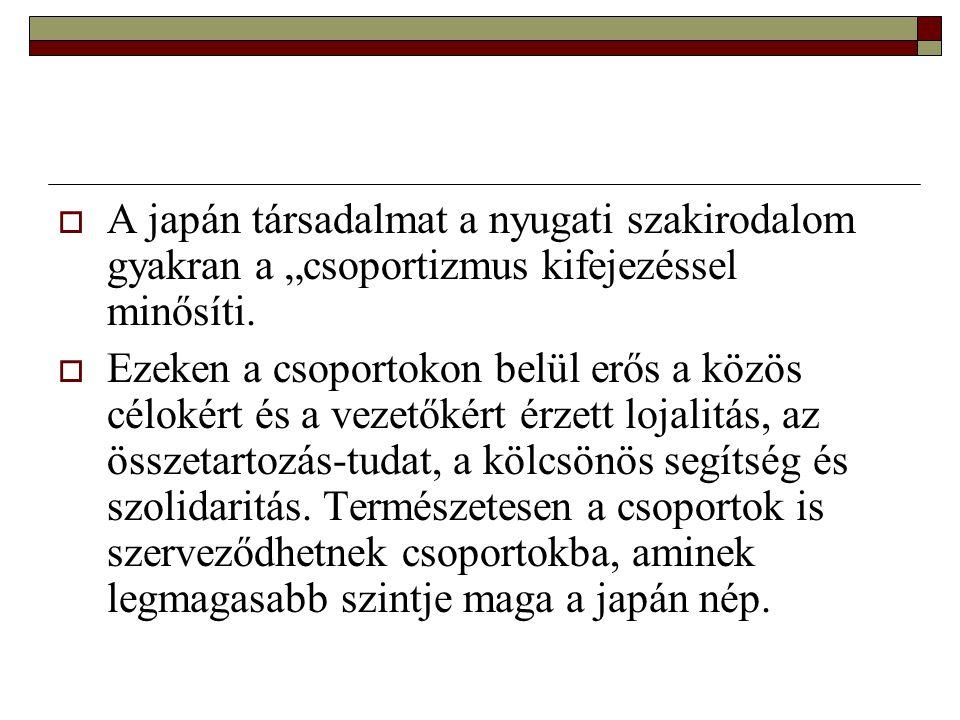 """A japán társadalmat a nyugati szakirodalom gyakran a """"csoportizmus kifejezéssel minősíti."""