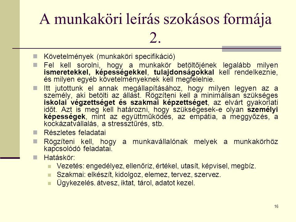 A munkaköri leírás szokásos formája 2.