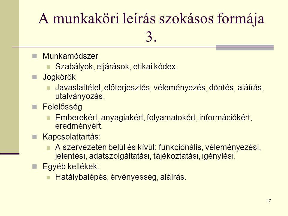 A munkaköri leírás szokásos formája 3.