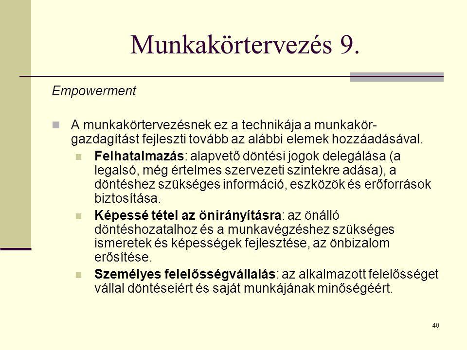 Munkakörtervezés 9. Empowerment