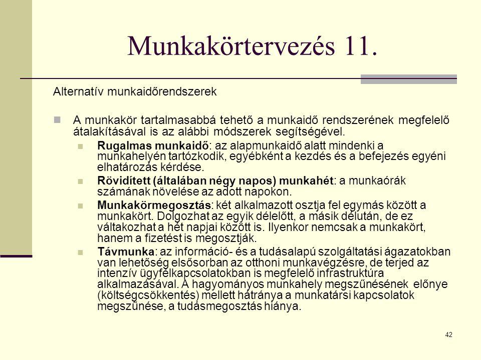 Munkakörtervezés 11. Alternatív munkaidőrendszerek