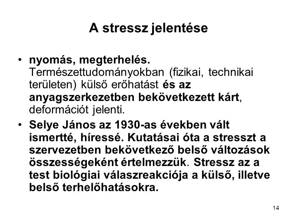 A stressz jelentése