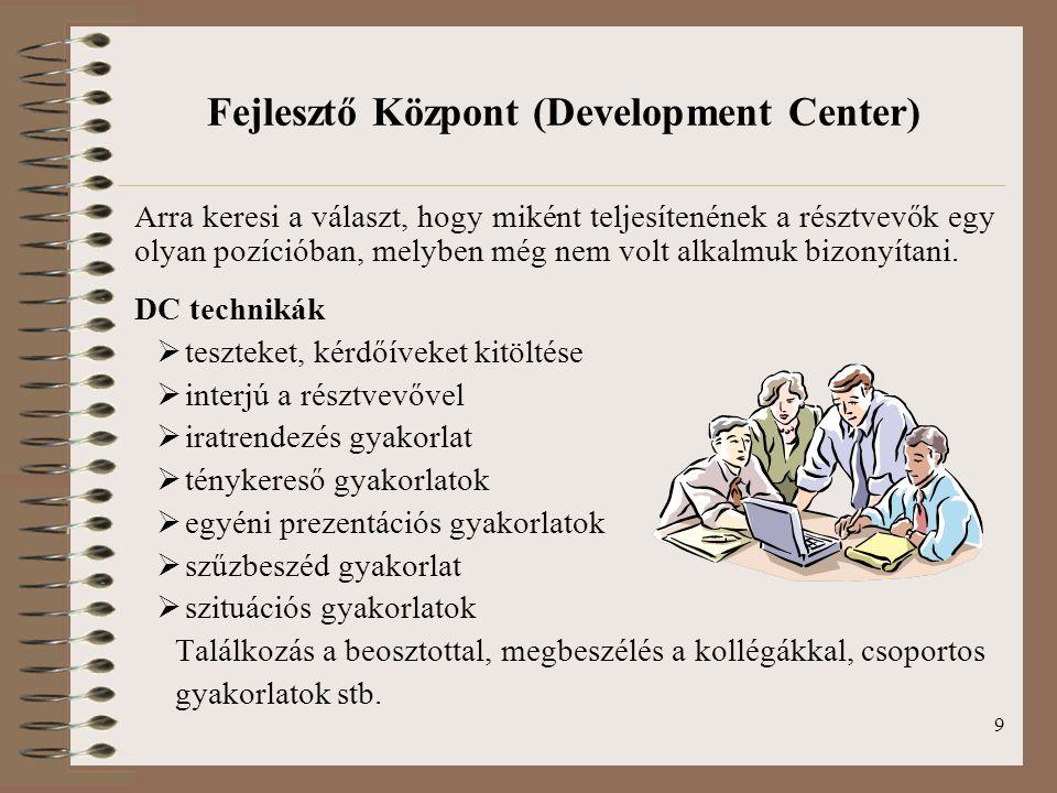 Fejlesztő Központ (Development Center)