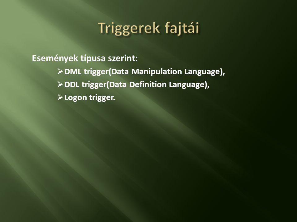Triggerek fajtái Események típusa szerint: