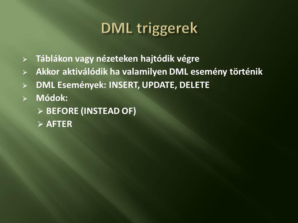 DML triggerek Táblákon vagy nézeteken hajtódik végre